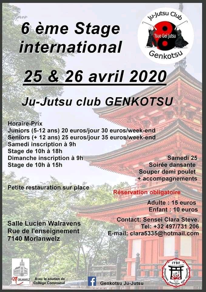 25 & 26/04/2020 | Stage multidisciplinaire au Club de Ju-Jitsu Genkotsu